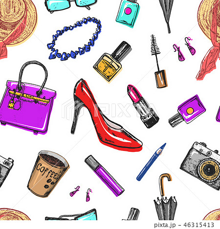 Seamless pattern Women s accessories cosmetics. Vintage style. Hand drawn doodle hat, shoes and 46315413