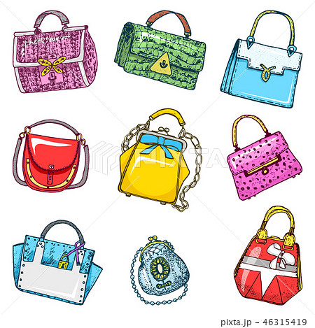 Women s bags. Vintage style. Hand drawn doodle fashion accessories. Set of Patch and Pins. 46315419