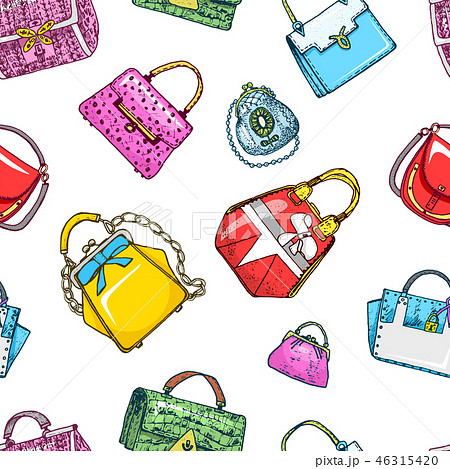 Women bag seamless pattern. Vintage style. Hand drawn doodle fashion accessories. Set of Patch and 46315420