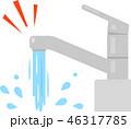 レバー式の蛇口から勢いよく流れる水 46317785
