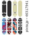 スケートボード テンプレートイラスト (背面グラフィックデザイン) 46317941