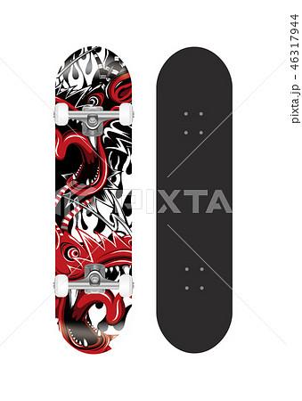 スケートボード テンプレートイラスト (背面グラフィックデザイン) 46317944