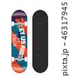 スケートボード テンプレートイラスト (背面グラフィックデザイン) 46317945