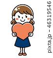 ハート バレンタイン 女性のイラスト 46319546