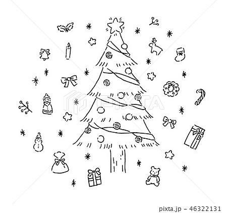 クリスマスツリー 手描き風イラストセットのイラスト素材