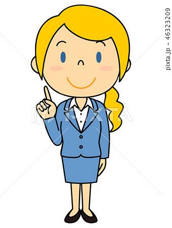 スーツの外国人女性 立ち姿 人差し指を指す 46323209