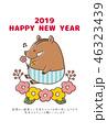 年賀状 亥 2019 お花畑とイノシシ 46323439