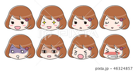 喜怒哀楽 表情セット 茶髪女性 46324857