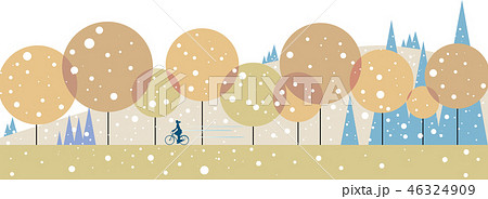 冬, 雪, 背景, 冬の背景, イラスト, ベクター, 自転車, 初雪, 森, コピースペース, ベクターイラスト, タイトルバック, カットイラスト, 風景イラスト, WEBバナー素材, 風景, 自然, 白バック, 山, テキストスペース, バックイメージ, サイクリング, バナー用素材, 樹木