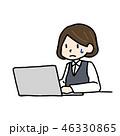 パソコンの前で困る女性 46330865