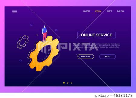 Online service - modern isometric vector web banner 46331178