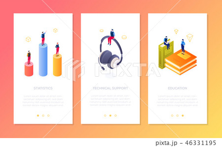 Online services - set of isometric vector vertical web banners 46331195
