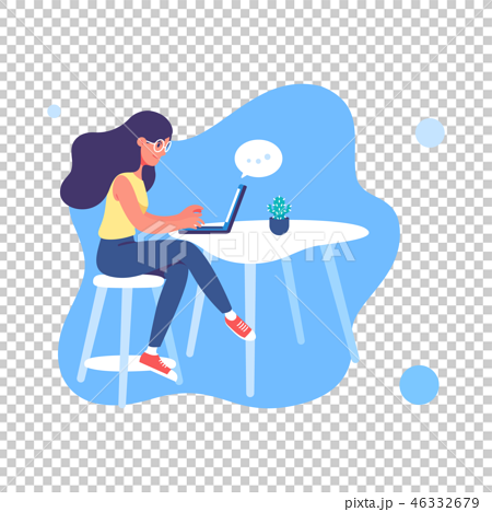 Young woman working on the laptop illustration. 46332679
