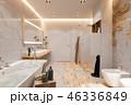 Interior design of a bathroom, 3d illustration in a Scandinavian s 46336849