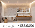 Interior design of a bathroom, 3d illustration in a Scandinavian s 46336850