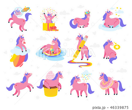Cute unicorn. Fairytale animal 46339875