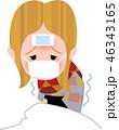 風邪 女性 悪寒のイラスト 46343165