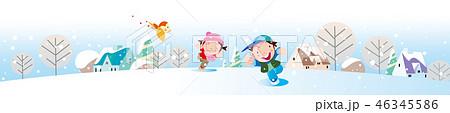 街並み, 雪の降る町, 風景, 白バック, 背景, 冬, 子供, 冬の背景, WEB素材, イラスト, コピースペース, 積雪, 街路樹, 人物, 雪, かわいい, 女の子, 建物, 木, 雪景色, バックグラウンド, 男の子, 街, 素材, 背景素材, ベクター