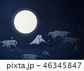 満月 富士山 夜のイラスト 46345847