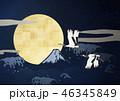 満月 富士山 鶴のイラスト 46345849