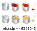 鍋 料理 立体のイラスト 46346043