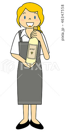 外国人女性 白ワインのワインボトルを持つ店員さん 46347558