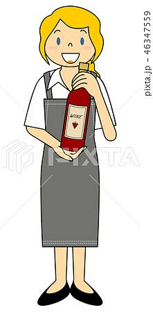 外国人女性 赤ワインのワインボトルを持つ店員さん 46347559
