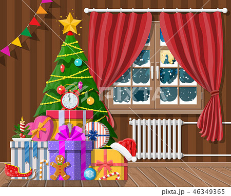 Interior of room with christmas tree and gifts 46349365
