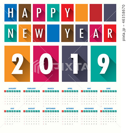 2019 Modern calendar template .Vector/illustration 46358670