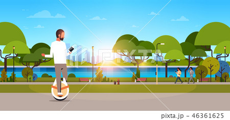 man ride electric mono wheel using smartphone guy modern personal transport outdoor nature city 46361625