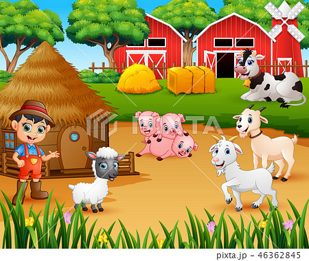 Farmer and farm animal in the farmyard 46362845