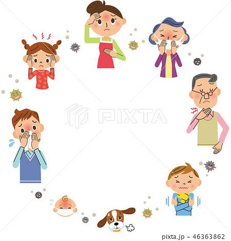 風邪をひいた家族とコピースペース 46363862