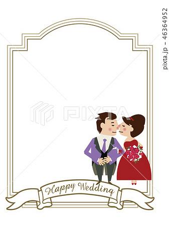 結婚のクリップアート。ウェディングカードのバリエーション。 ウェディングカードの素材。 花嫁と花婿の 46364952