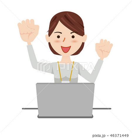 ビジネスウーマン カジュアル パソコン 46371449