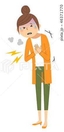 若い女性 ママ 胸の痛み 46371770