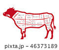 牛 部位 png 赤 横向き 全身 透過 透明 焼き肉 ステーキ 精肉 肉 ポスター パネル 46373189