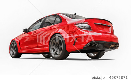 Super fast sports car color red metallic on a white background. Body shape sedan. Tuning is a 46375871