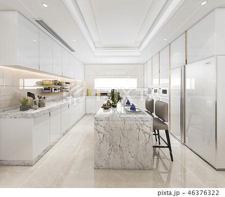 white minimal kitchen with luxury decoration 46376322