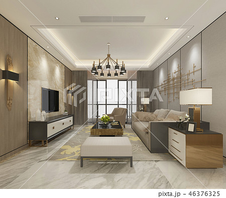 modern dining room and living room with decor 46376325