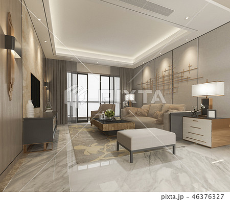 modern dining room and living room with decor 46376327