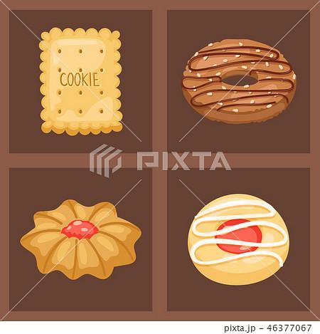 Cookie vector cakes top view sweet homemade breakfast bake food biscuit bakery cookie pastry 46377067