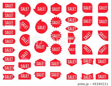 Sale sticker set. Red promotion labels.  Modern vector flat styl 46380231
