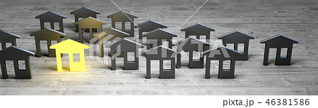 Leader village sale concept 3d rendering 46381586