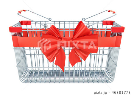 Empty shopping basket with red bow and ribbon 46381773