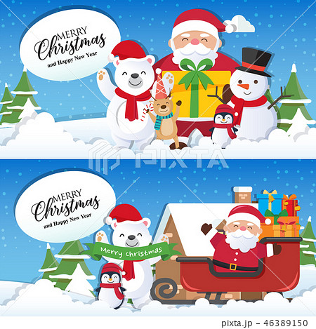 Christmas background with Santa Claus  46389150