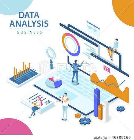 3d isometric Data analysis 46389169