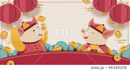 Lunar year piggy design 46389208