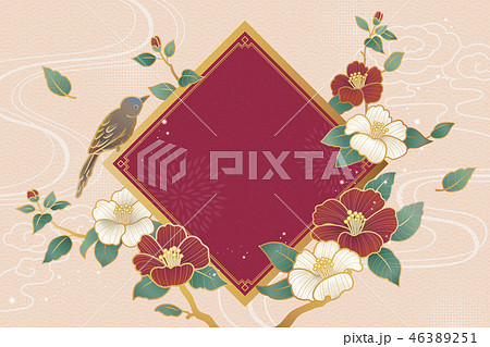 Camellia and bird background 46389251