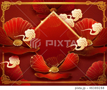 Red floral background 46389288
