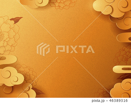 Golden peony and cloudy background 46389316